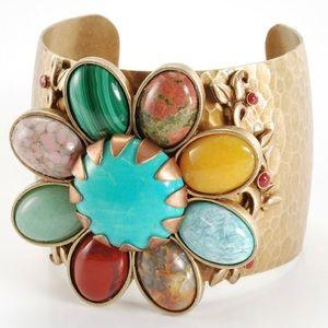 Jewelry - Semi-Precious Hammered Metal Daisy Cuff, NWT